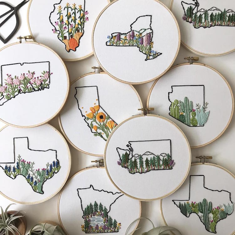 Embroidery Maps Celebrate the Natural Beauty Each U.S. State Has to Offer