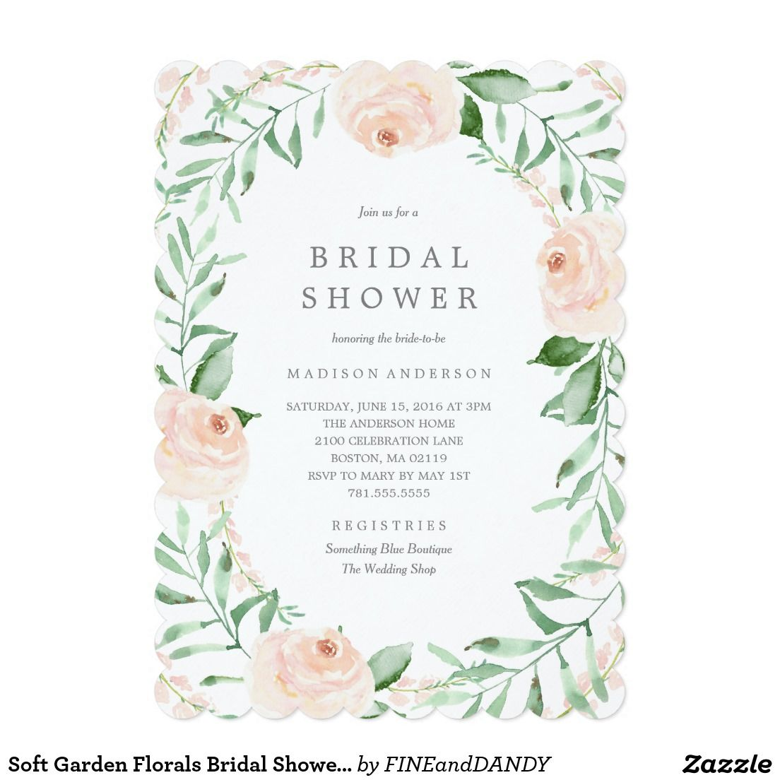 Soft Garden Florals Bridal Shower Invitation   Bridal showers ...