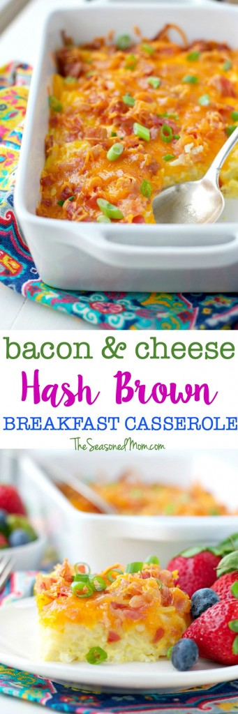 Host the ultimate holiday brunch or serve a comforting weeknight dinner! This easy 10-minute Bacon and Cheese Hash Brown Breakfast Casserole is the perfect make-ahead egg dish for any occasion!