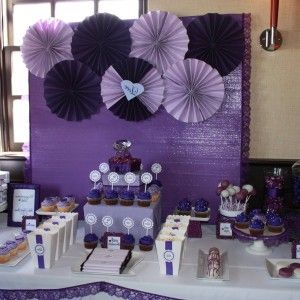 Superb Purple Baby Shower Decorations Ideas : Creative Serving Table Decor With  Purple Backdrop Accentuated With Purple