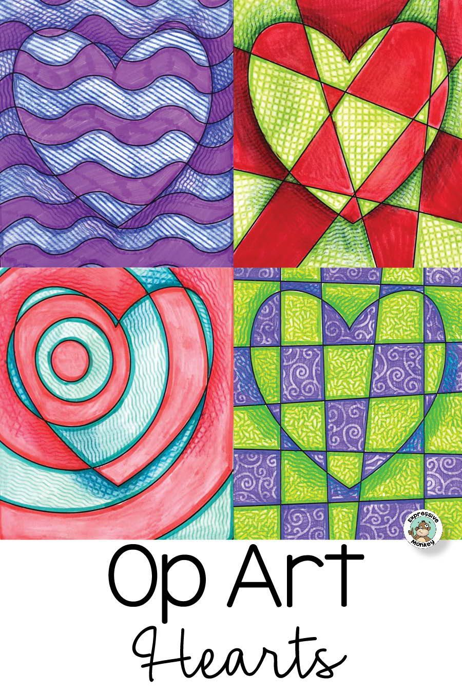 Op Art Hearts - perfect for Valentine's Day! This Op Art lesson has many variations and options.  #ArtProjectsForKids  #artlessons  #ArtEd  #iteachart  #valentinesdayartforkids  #HeartArt  #opartlesson