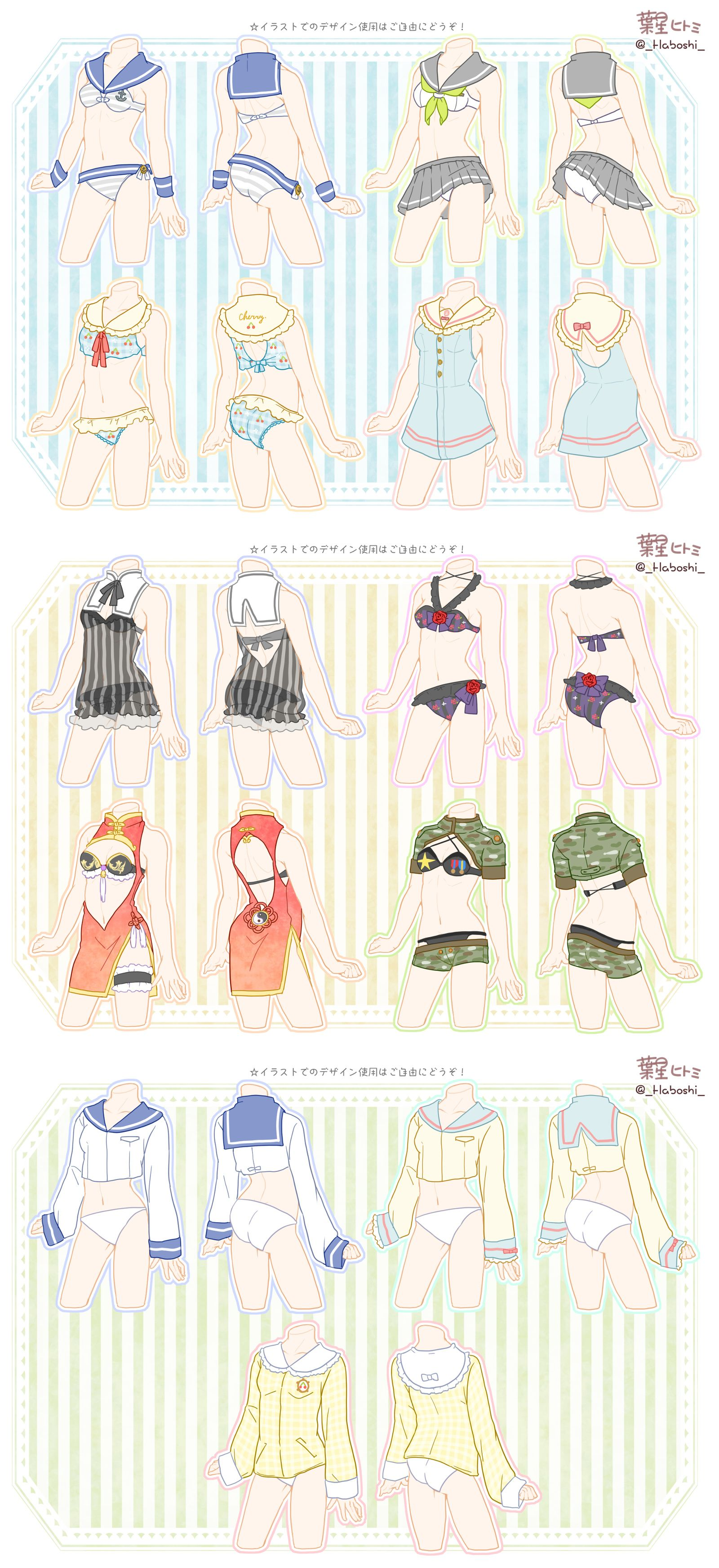 Swimsuit Designs Character Design Drawing Clothes Character Art