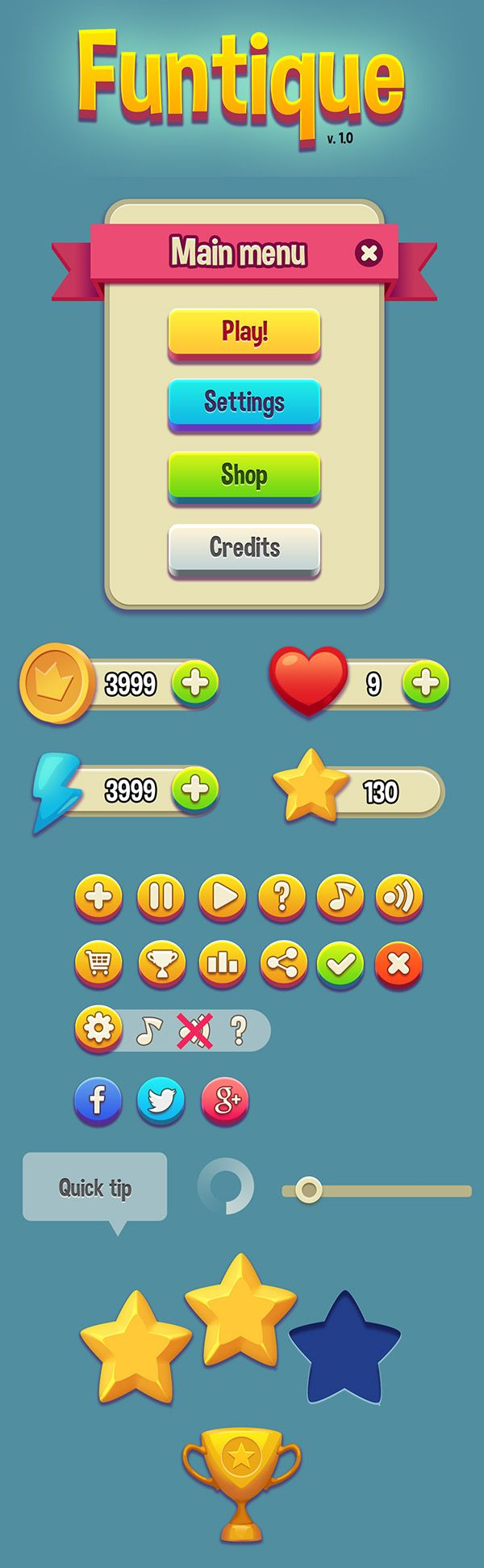 Free Game UI Kit (PSD) #freepsdfiles #freepsdgraphics #freepsdmockups #freebies