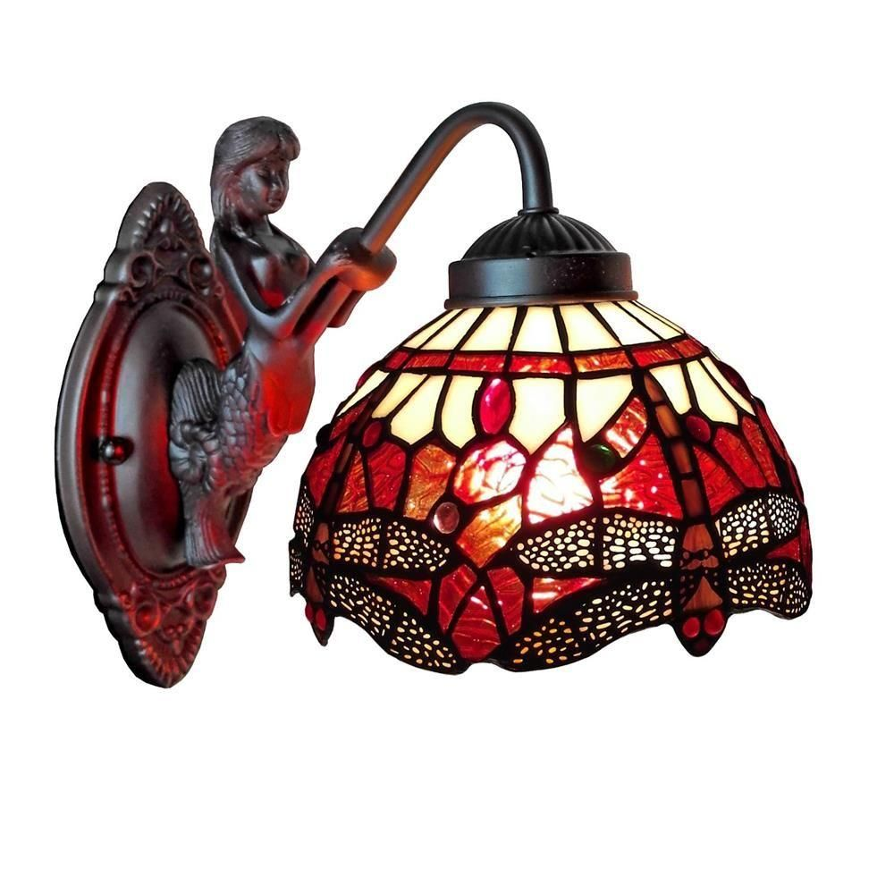 Amora Lighting 1 Light Tiffany Style Dragonfly Wall Sconce Am097wl08 The Home Depot Sconce Lamp Wall Sconce Lighting Tiffany Style Lighting
