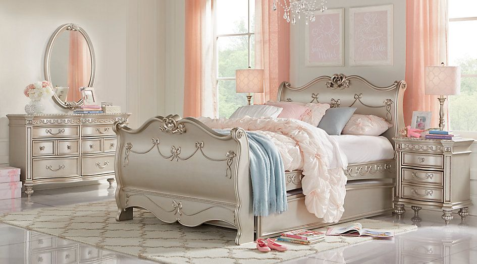 Disney Princess Silver 5 Pc Twin Sleigh Bedroom from Furniture
