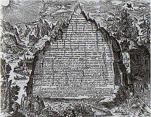 The Emerald Tablet, also known as the Smaragdine Table, or Tabula Smaragdina, is a compact and cryptic piece of the Hermetica reputed to contain the secret of the prima materia and its transmutation. It was highly regarded by European alchemists as the foundation of their art and its Hermetic tradition. The original source of the Emerald Tablet is unknown.