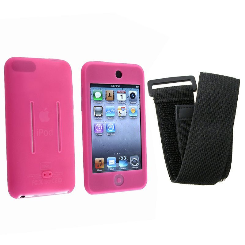Insten / Black Skin iPod Case Cover w/ Armband for iPod Touch #504414