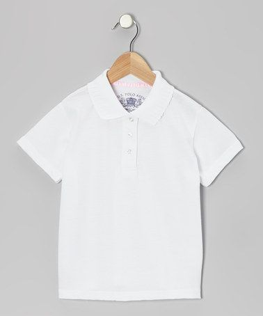 Take a look at this White Picot Polo - Girls by Honor Roll: Girls' Uniforms on @zulily today!
