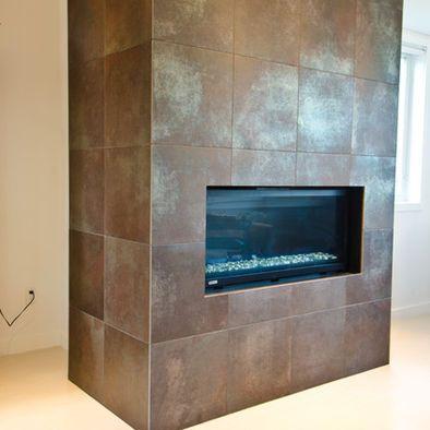 Metallic Porcelain Tile Fireplace, Metallic Tile Fireplace
