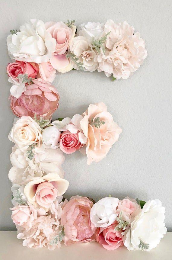 Photo of Flower letter, flower letter, blush pink nursery decor, purple nursery, dusty pink kids …