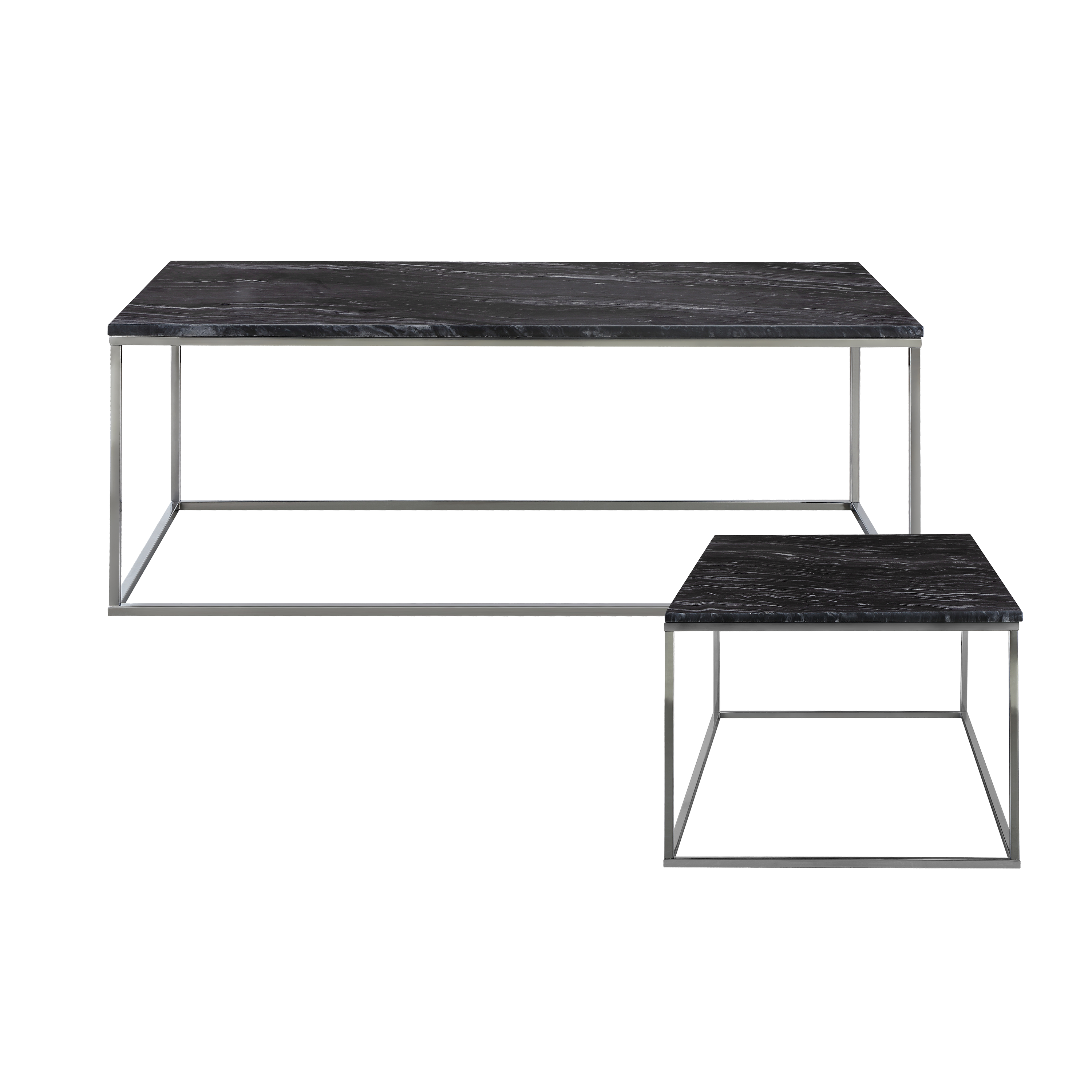 Amelia Marble Coffee Table With Amelia Marble Side Table Grey
