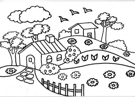 Imagenes Para Colorear De Paisajes Lindos Dibujos Para