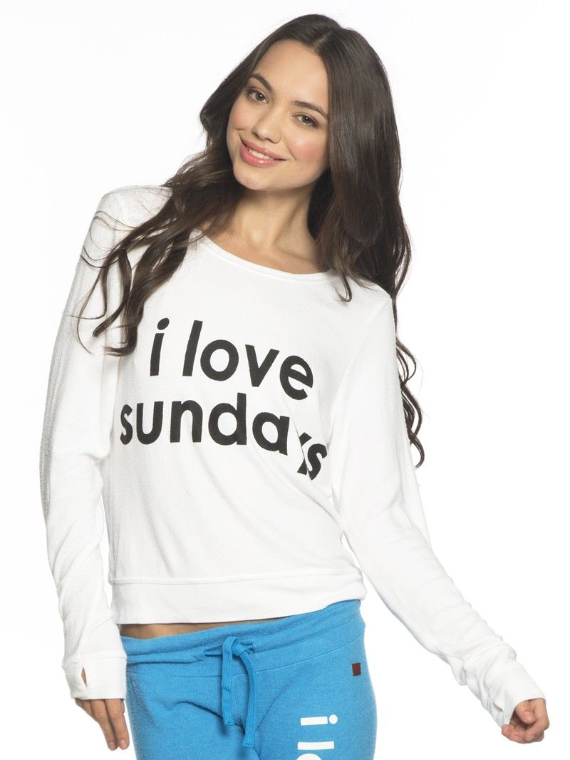 I Love Sundays White Oversized Comfy Top Ml By Peace Love World Llc Peace Love World Llc