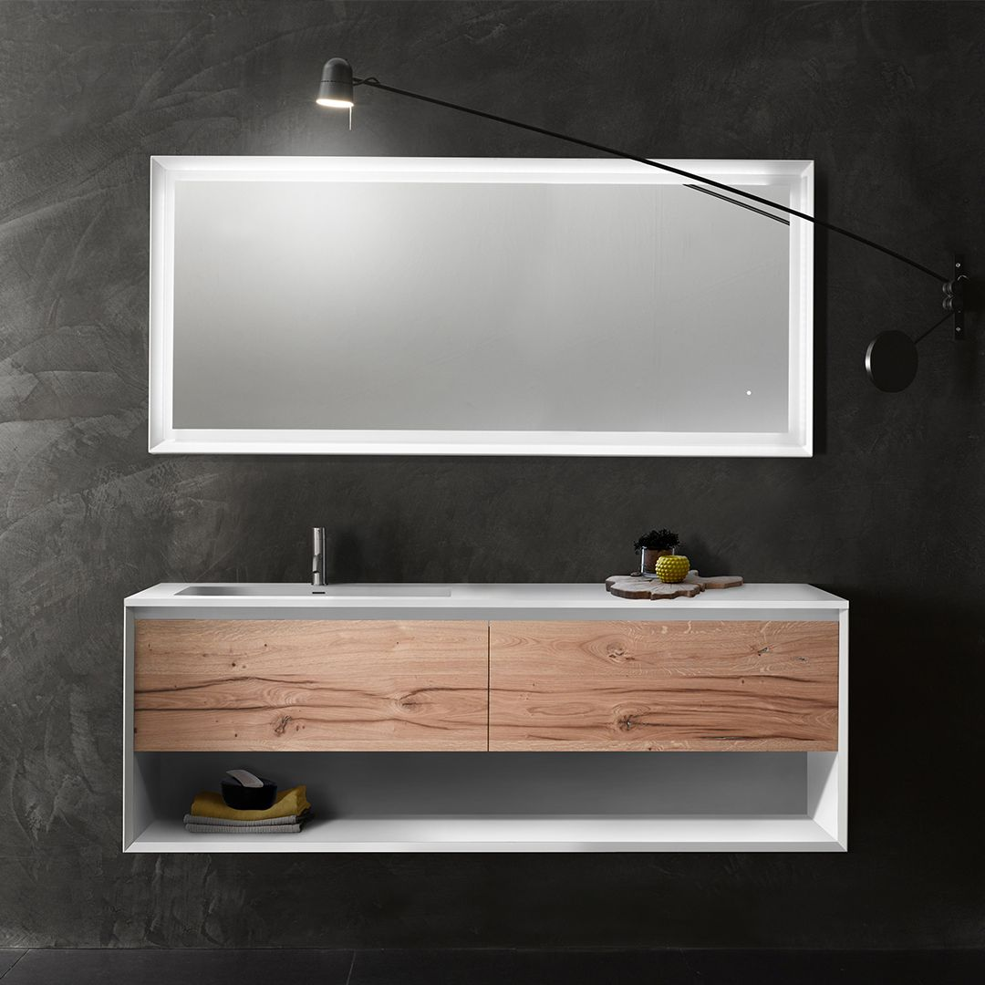 45 wallmount vanity design provides an open drawer front to store