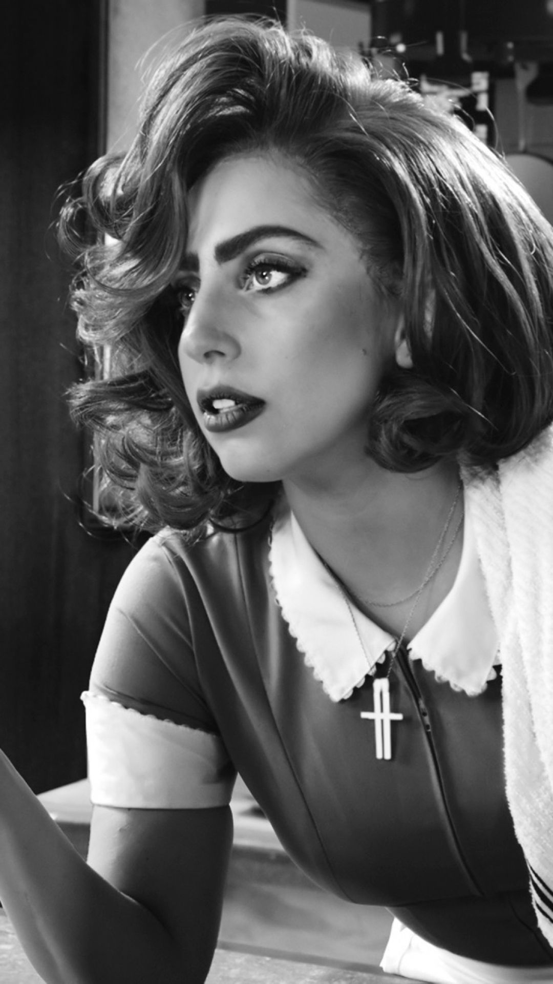Download Wallpaper 1080x1920 Sin City A Dame To Kill For Lady Gaga Bertha Black White Sony Xperia Z1 Zl Z Samsun Lady Gaga Lady Gaga Black And White Lady