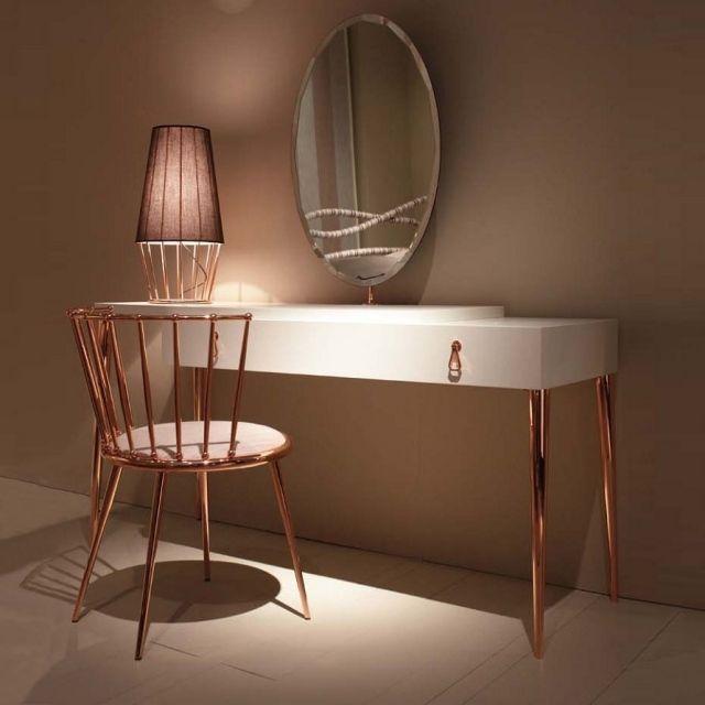 city schminktisch kupfer f e wei spiegel schublade. Black Bedroom Furniture Sets. Home Design Ideas