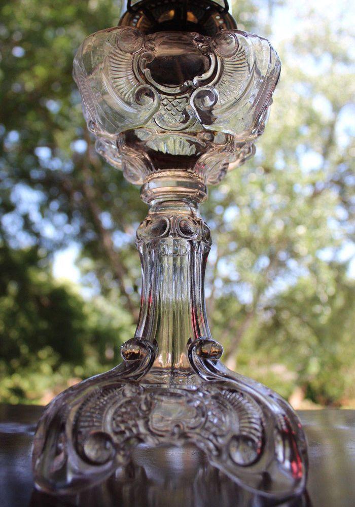 """RARE c.1890 ANTIQUE EAPG RIVERSIDE GLASS CO. """"SLENDER"""" KEROSENE OIL SEWING LAMP"""