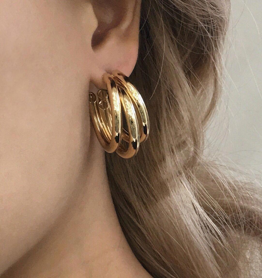 Juwelen für Frauen Double Heart Hoop Ohrringe Long Drop Drop Dangle