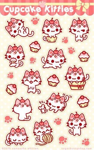 Cherry pink kitty cupcake stickers