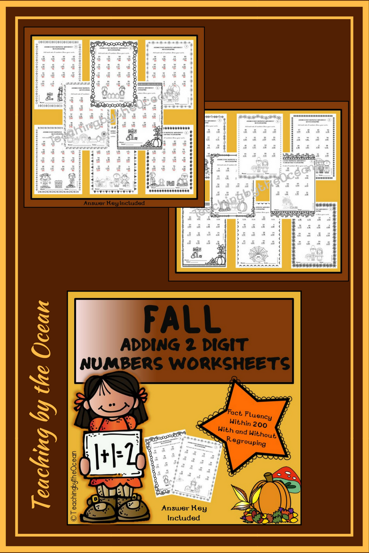 Adding Two Digit Numbers Worksheets Fall Themed Pinterest