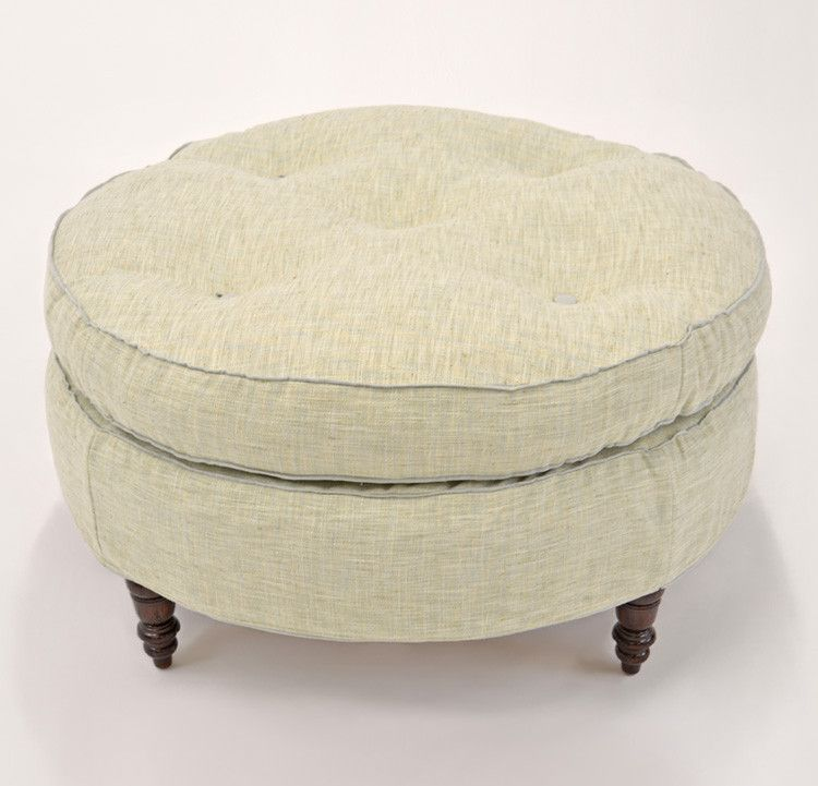 Quatrine Custom Furniture - Francis Round Slipcovered Ottoman #green ...