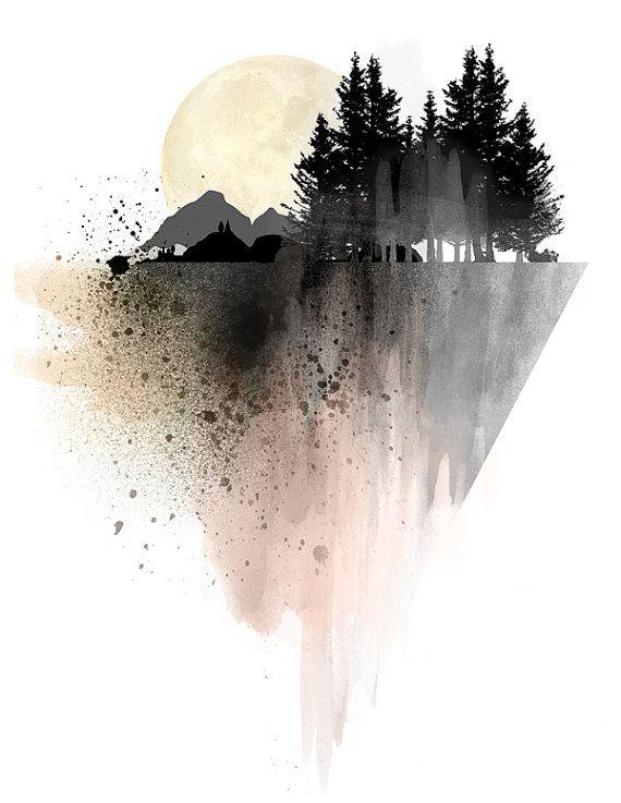 Mountain Art Print Poster Wall Art Forest Art Watercolor Print