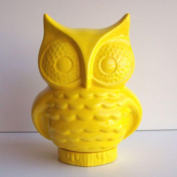 Ceramic Owl Planter Vintage Design Lemon Yellow Ceramic Owl Handmade Retro Home Decor