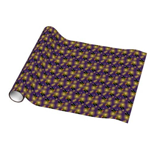 Fireflies Graphic on Purple Wrapping Paper by @M.M. Anderson