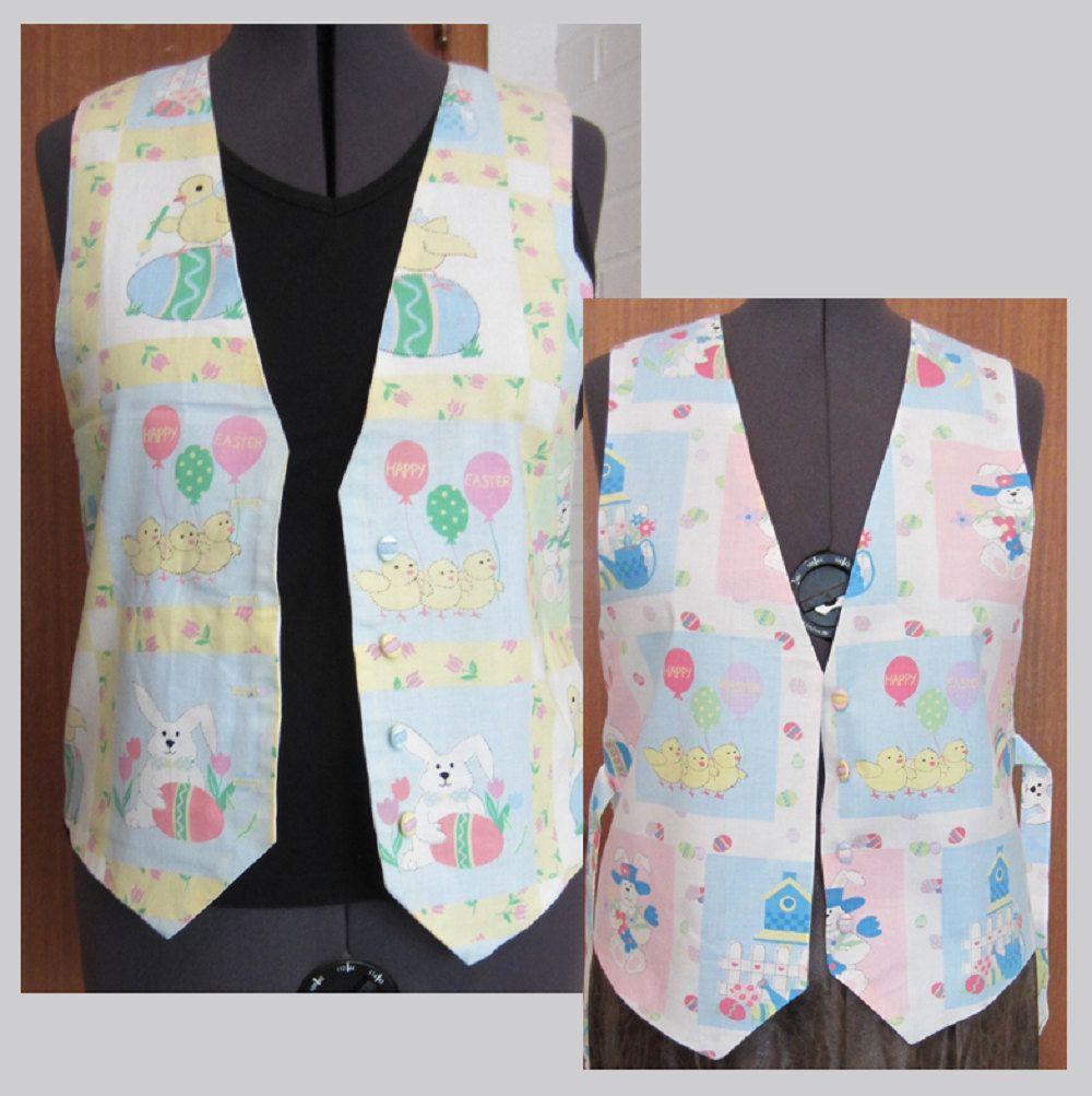 Original Design Ladies Holiday Apparel Unique Easter Gift for Her Vintage 90/'s Handmade Happy Easter Balloon Easter Bunnies /& Chicks Vest