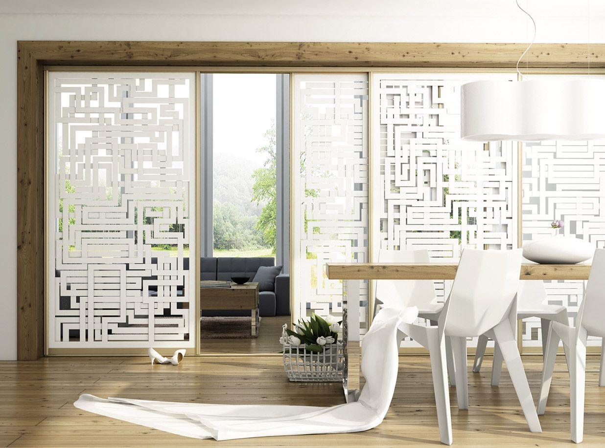 Moderne Schiebetür für Innen aus Glas, transparent mit modernem ...