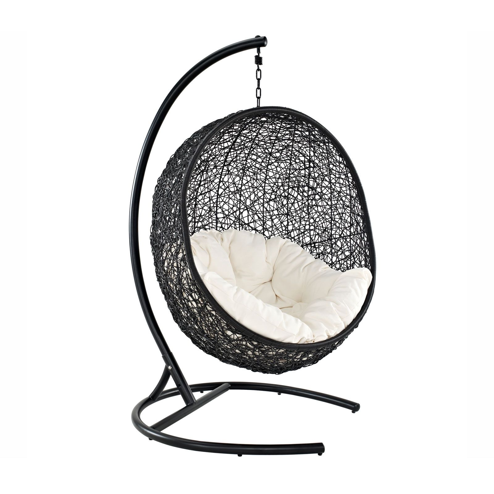 espresso metal and woven rattan combine to create the hanging cocoon