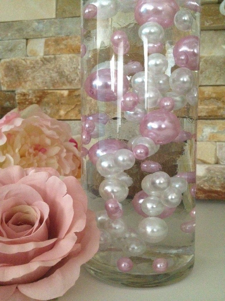 Diy floating pearl centerpiece vase filler pearls light pinkwhite diy floating pearl centerpiece vase filler pearls light pinkwhite pearls 80 jumbo mix reviewsmspy