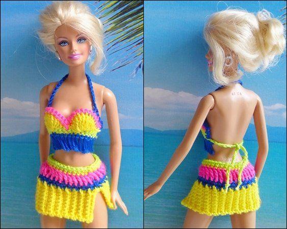 Strandmode für kleine Puppen - 6 Häkelanleitungen | Barbiekleidung ...