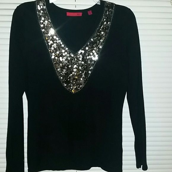 Ladies Sequined Black Sweater | Red sweaters, Smoke free and Sequins