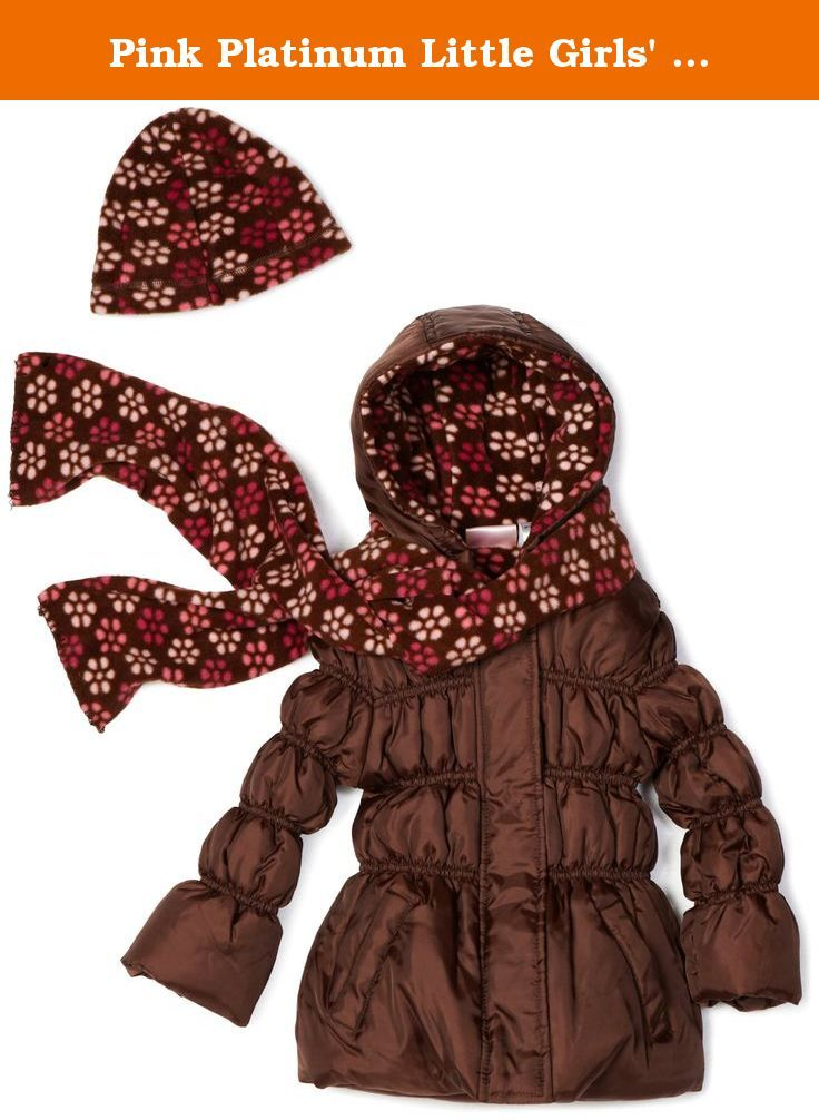 214e9670b Pink Platinum Little Girls' Solid Puffer with Floral Printed Lining  Outerwear, Brown, 3T. Floral printed hat and scarf. Disty floral print  lining.