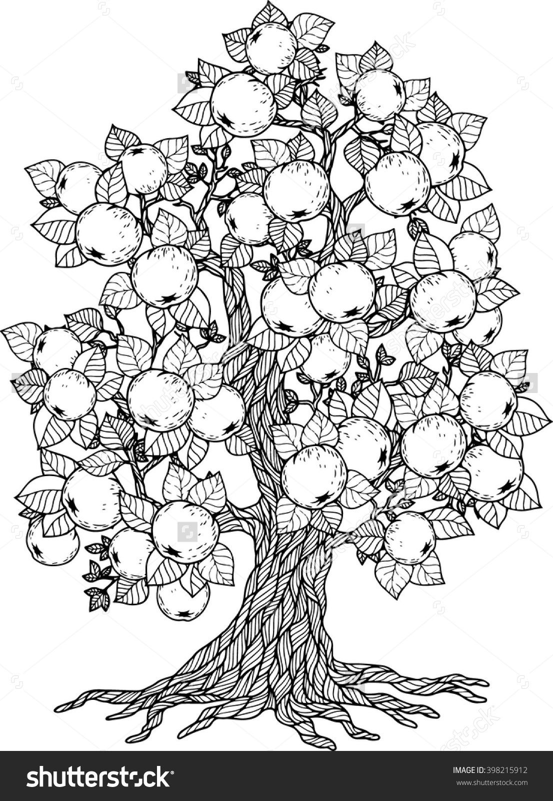 Apple Tree. Vector Elements. Coloring Book For Adult. Doodles For Meditation