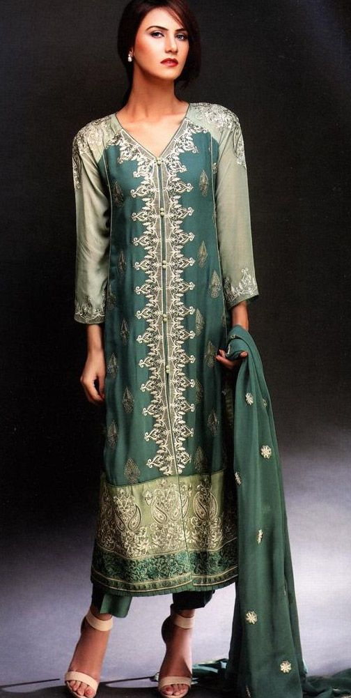 Green Embroidered Chiffon Suit $131.99 SEMI PARTY DRESSES Pakistani Indian Dresses  Online, Men Women Clothing