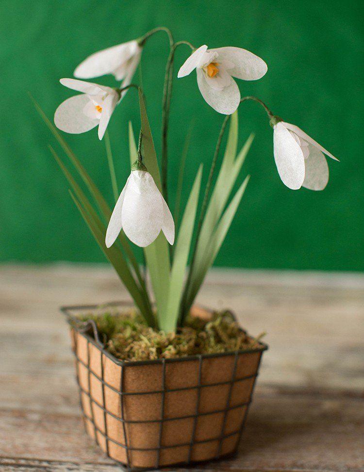 Blumengesteck Mit Schneeglockchen Als Tischdeko Im Fruhling Nahen