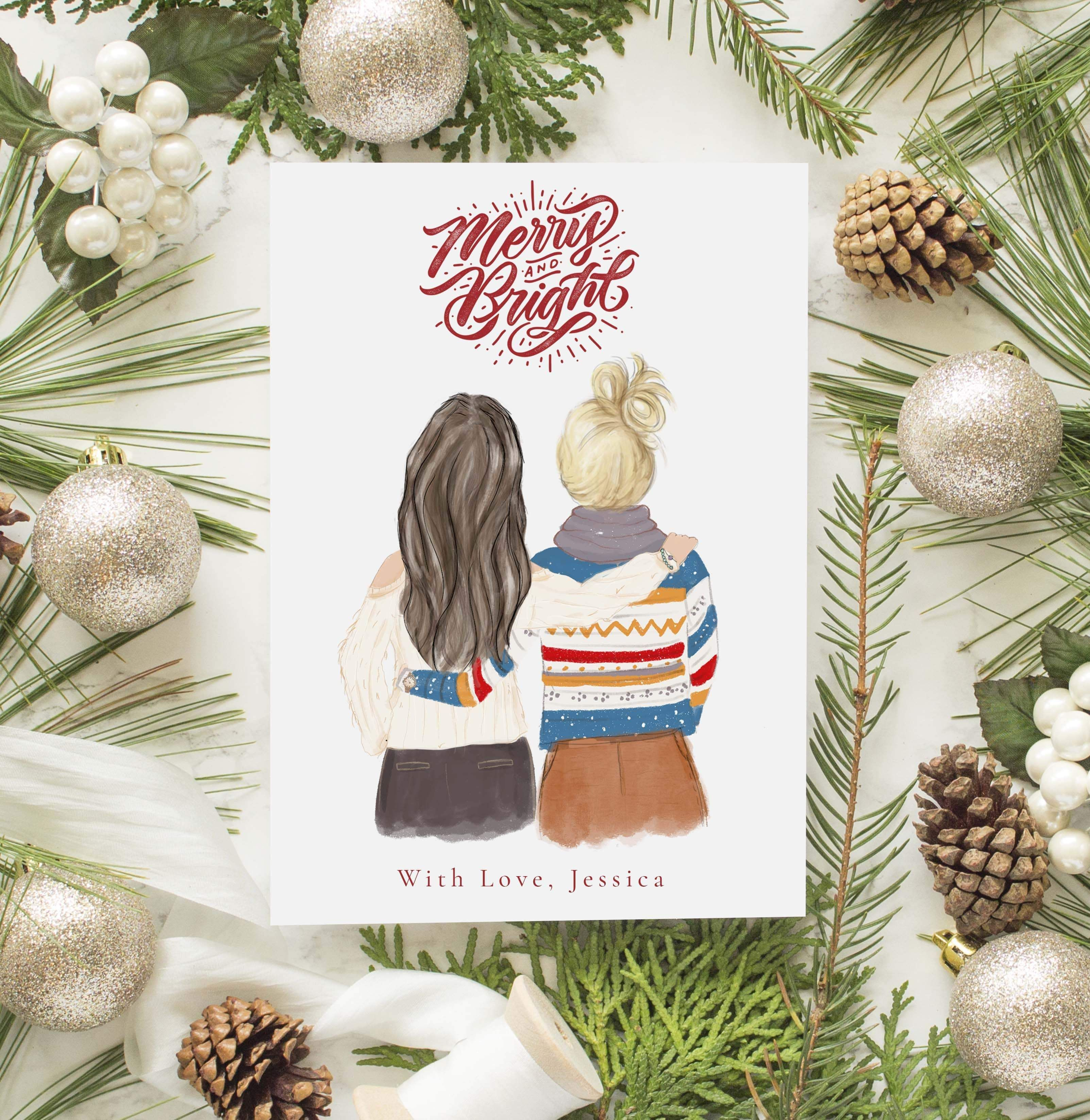 Popular Custom Made Christmas Gifts For 2021 Personalized Best Friends Female Christmas Greeting Card In 2021 Christmas Greetings Personalised Christmas Cards Diy Christmas Gifts