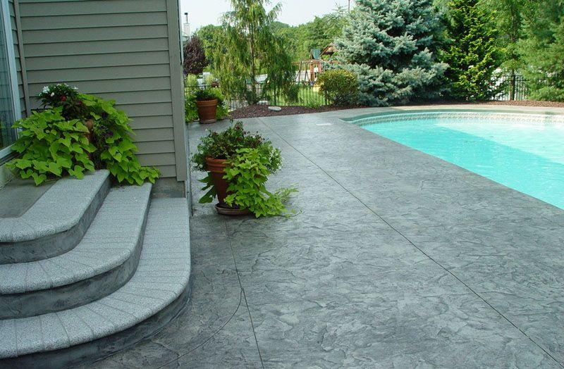 Concrete Patio Ideas | Stamped Concrete Patio Around Pool