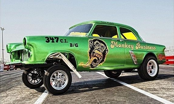 "1952 ford mainline 2-door sedan gasser ""monkey business"" from gas"
