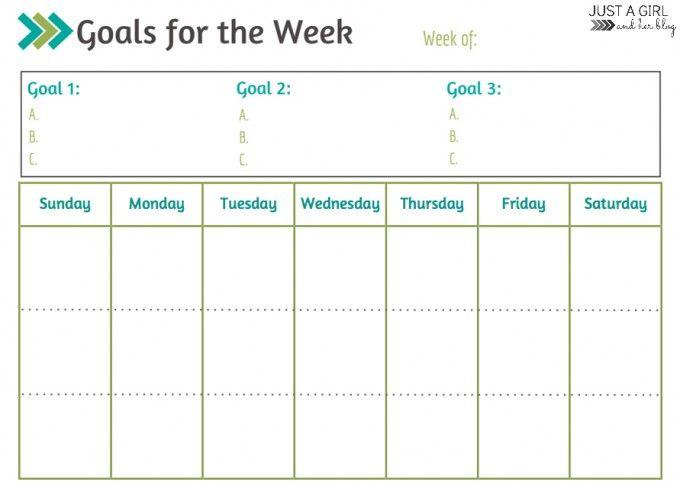 Weekly Goals Printable ~ Free Printable Free printable calendar - free printable calendar