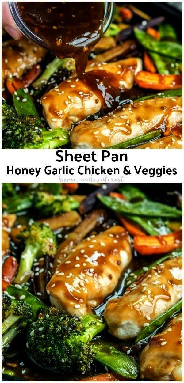 Sheet Pan Honey Garlic Chicken with Veggies has the flavors of a stir fry. It's a one pan honey gar