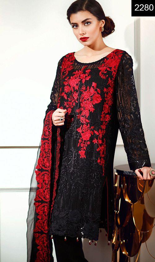 Wyys 2280 Embroidery Designer 3pc Chiffon Suit With Chiffon