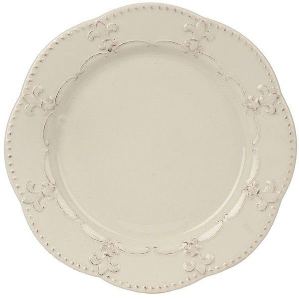 Distressed White Fleur-de-lis Plate featuring polyvore home kitchen u0026 dining  sc 1 st  Pinterest & Distressed White Fleur-de-lis Plate featuring polyvore home ...