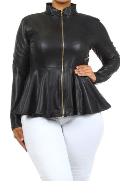 f2249bb0b2e Plus Size Leather Mock Collar Peplum Jacket – PLUSSIZEFIX