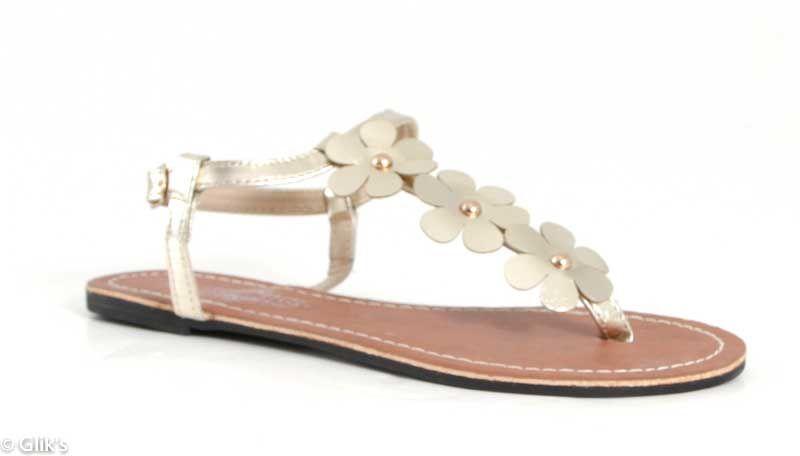 Charles Albert Flower Sandals in Gold 201-191-GOLD