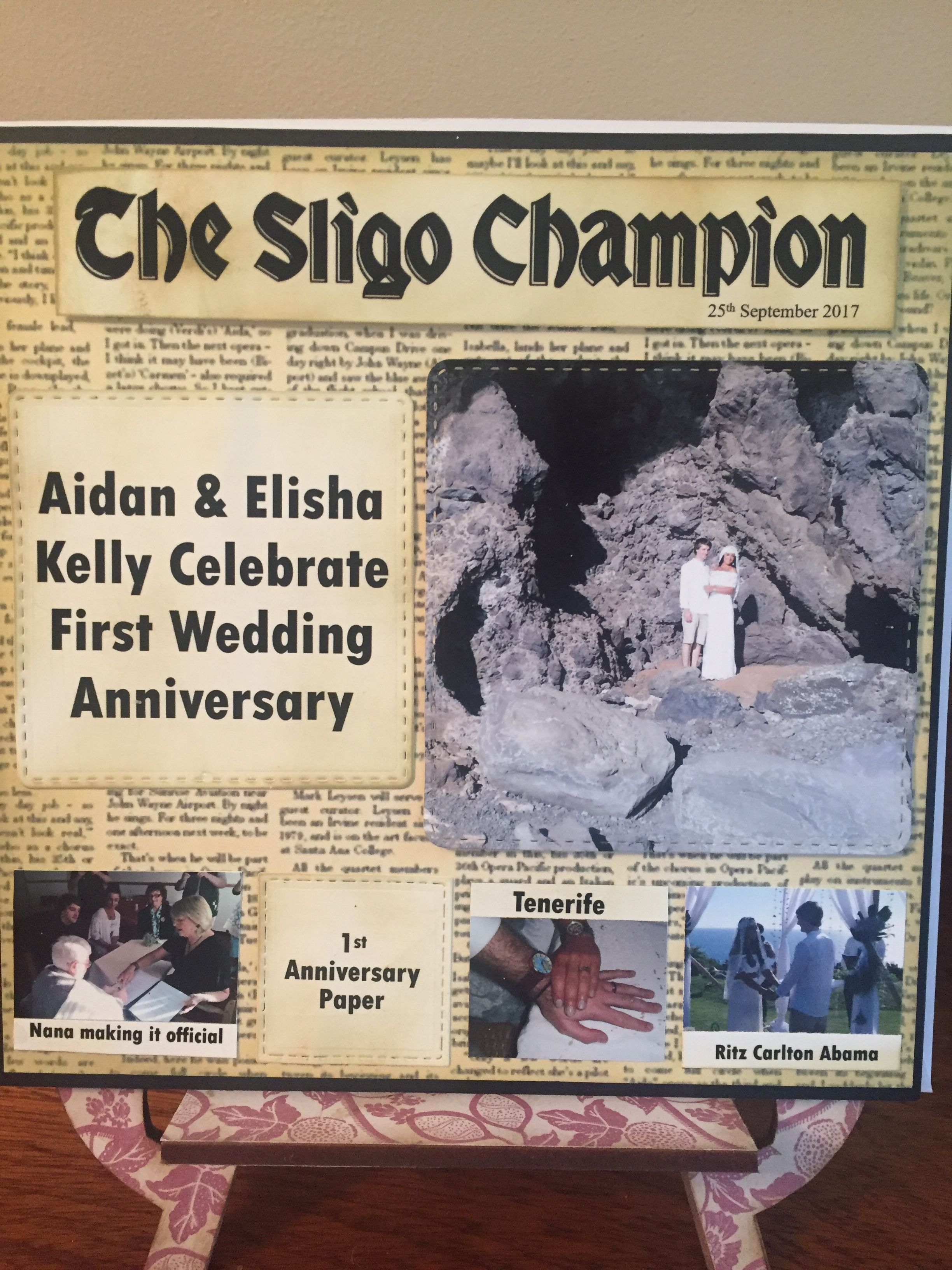 First anniversary is paper i made the card look like a newspaper