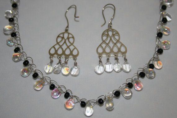 "Necklace & Chandelier Earrings set ""Dew Drops"" by Angelic Strawberry #crystal #tear drop #glass"