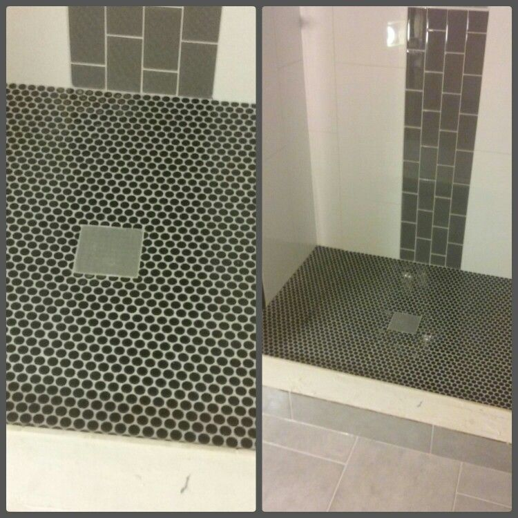 Master Shower Floor Black Penny Round Sheet Tile With Grey Smoke Epoxy Grout Shower Floor Master Shower Shower